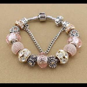 Jewelry - NEW chunky bead charm bracelet silver plated